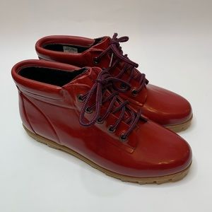 Lands' End Red Waterproof Ankle Boots. Size 10